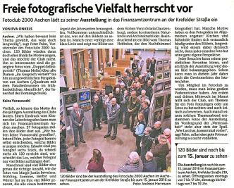 Ausschnitt: Aachener Nachrichten vom 27.11.2015 | Eröffnung der Jahresausstellung 2015 | Fotoclub 2000 Aachen