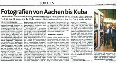 Ausschnitt: Aachener Nachrichten vom 24.11.2016 | Eröffnung der Jahresausstellung 2016 | Fotoclub 2000 Aachen