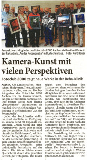 "Ausstellung: Perspektiven | Rehaklinik ""An der Rosenquelle"" | Fotoclub 2000 Aachen"