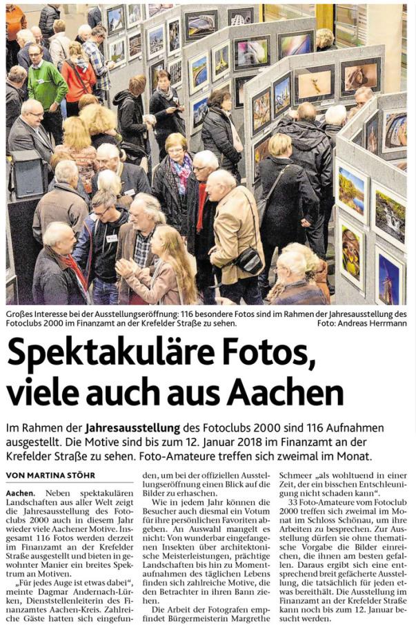 Presse, Ausstellungseröffnung, Jahresausstellung 2017, Fotoclub 2000 Aachen