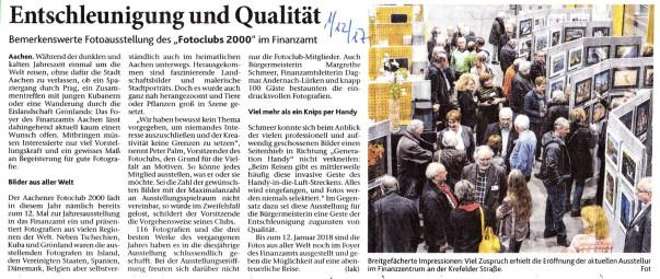 Jahresausstellung 2017, Fotoclub 2000 Aachen